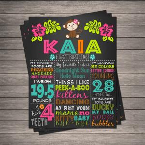 Hula Monkey Birthday Chalkboard Memory Board