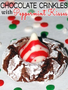 Chocolate Crinkle with Peppermint Kisses recipe
