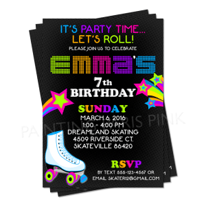 """Neon Colored Roller Skating 5"""" x 7"""" Birthday Party Invitation Printable"""