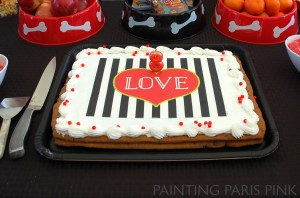 Sam's Club Cookie cake - Black and white stripes with red LOVE heart