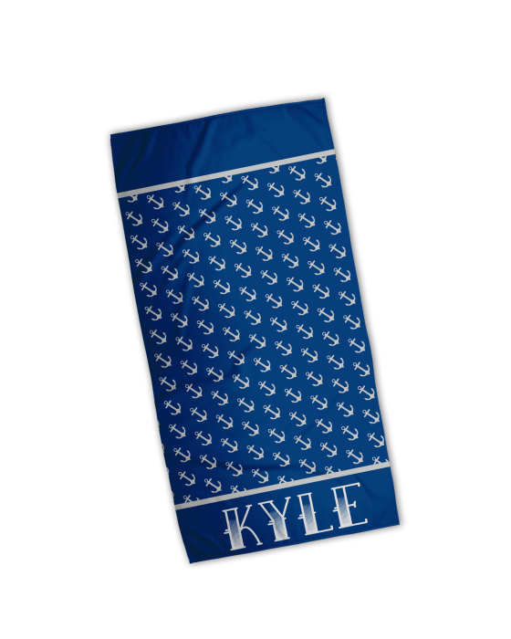 Anchors Aweigh Personalized Beach Towel
