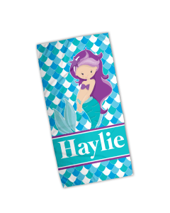 Purple Hair Mermaid Velour Beach Towel