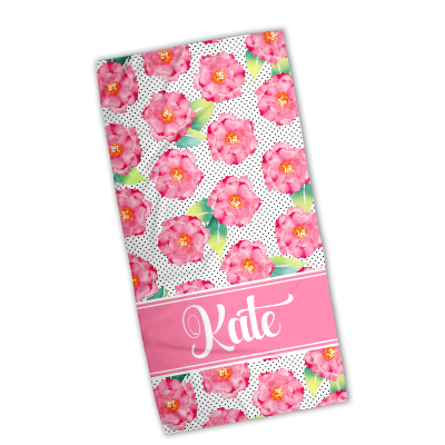 Modern Floral Personalized Beach Towel