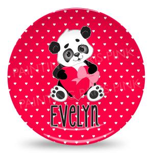 Valentine Panda Melamine Plate