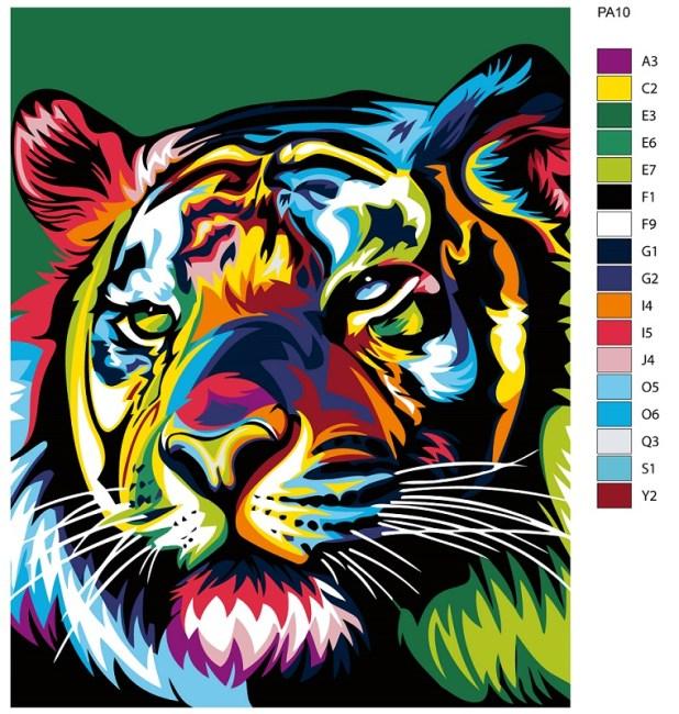 Картины по номерам, поп-арт, тигр