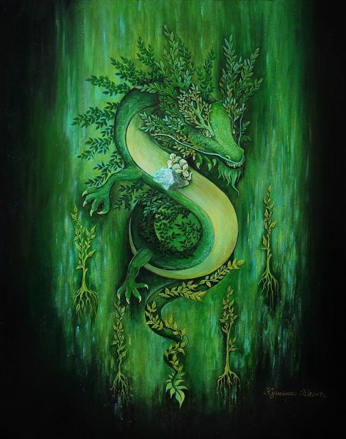 Художник Олеся Кущенко, Дерево. Китайский дракон