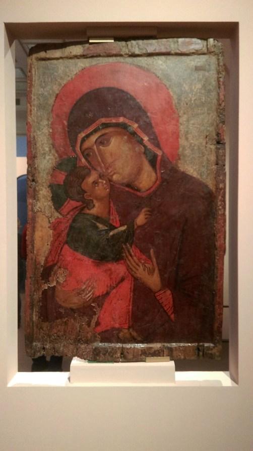 Богоматерь с младенцем, процветший крест, выставка Шедевры Византии