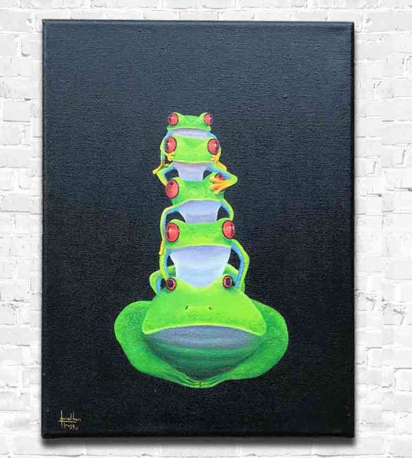 Five frogs on top of each other