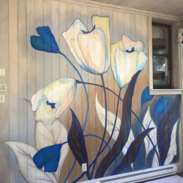 Blue Floral Mural