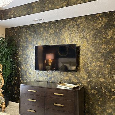 Gold Glitterstone Wall Faux Finish