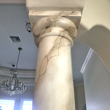Faux marble column finish