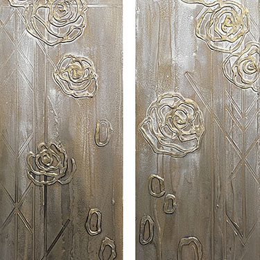 My Hands Are Tied - modern rose diptych