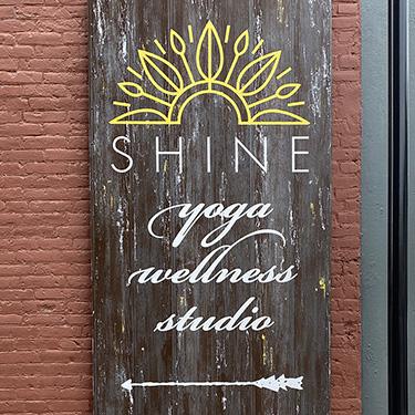 yoga barnwood sign handpainted