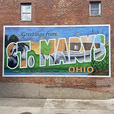 St Marys Ohio Vintage Postcard Mural by Linette Pedigo