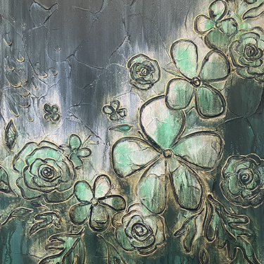 Uplifting - abstract floral plaster painting