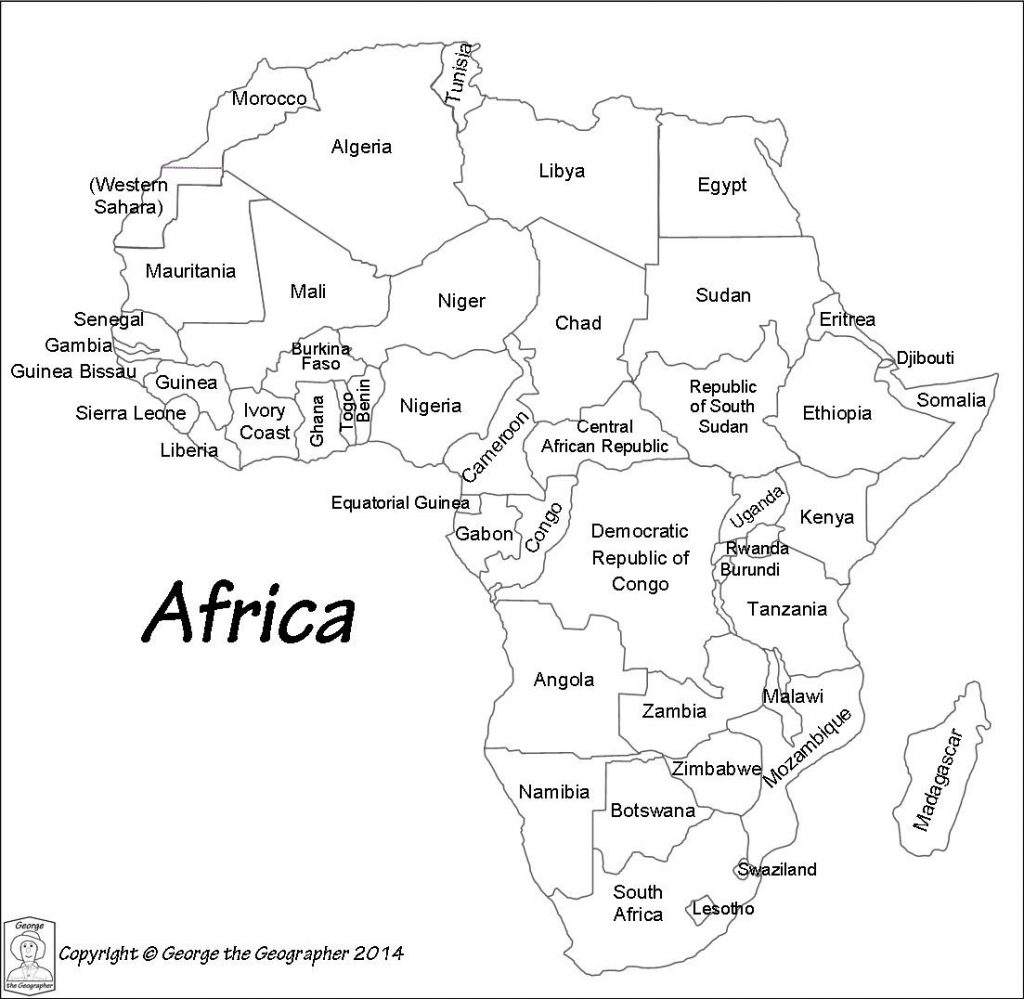 Blank Labeled Map Of Africa