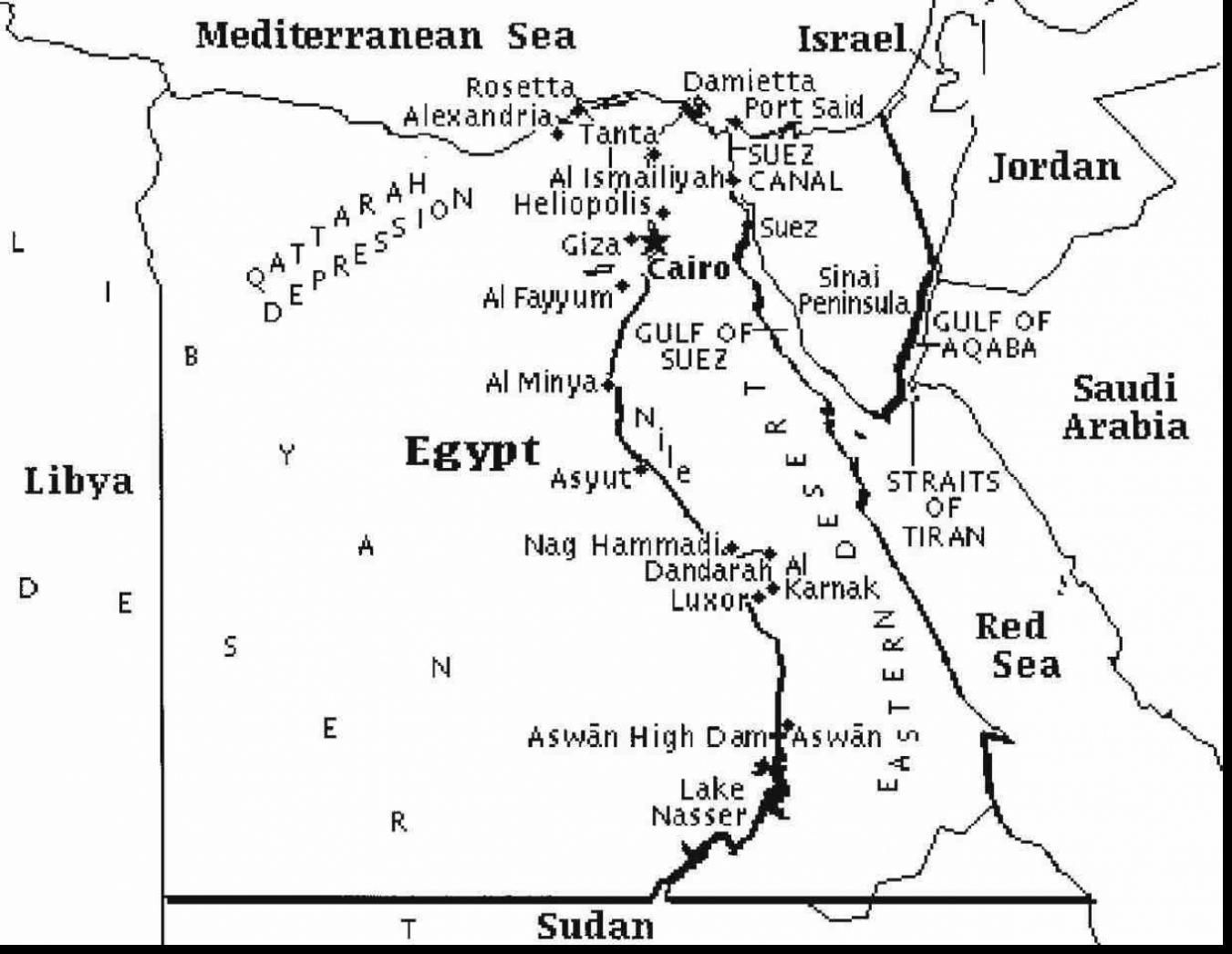 Map Of Egypt Printable