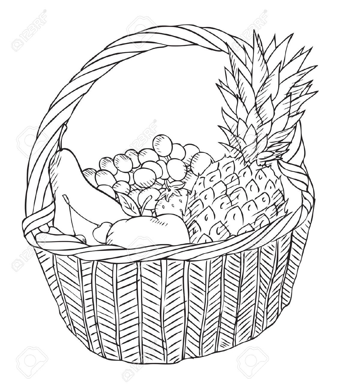 Fruit Basket Drawing Step By Step At Paintingvalley