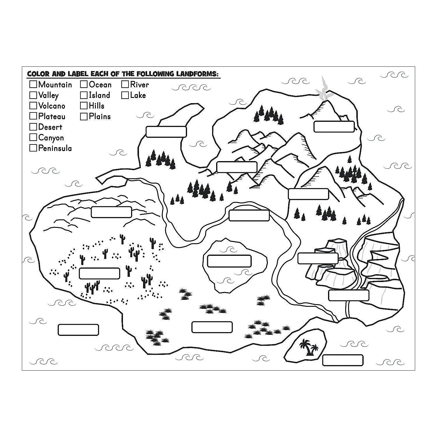 Landform Coloring Worksheets