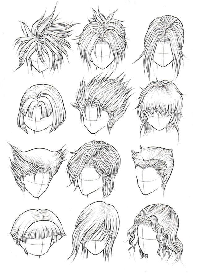 male anime hairstyles drawing at paintingvalley