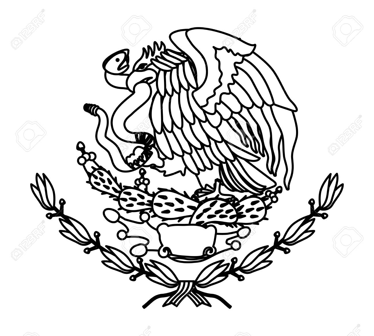Mexican Flag Eagle Drawing At Paintingvalley