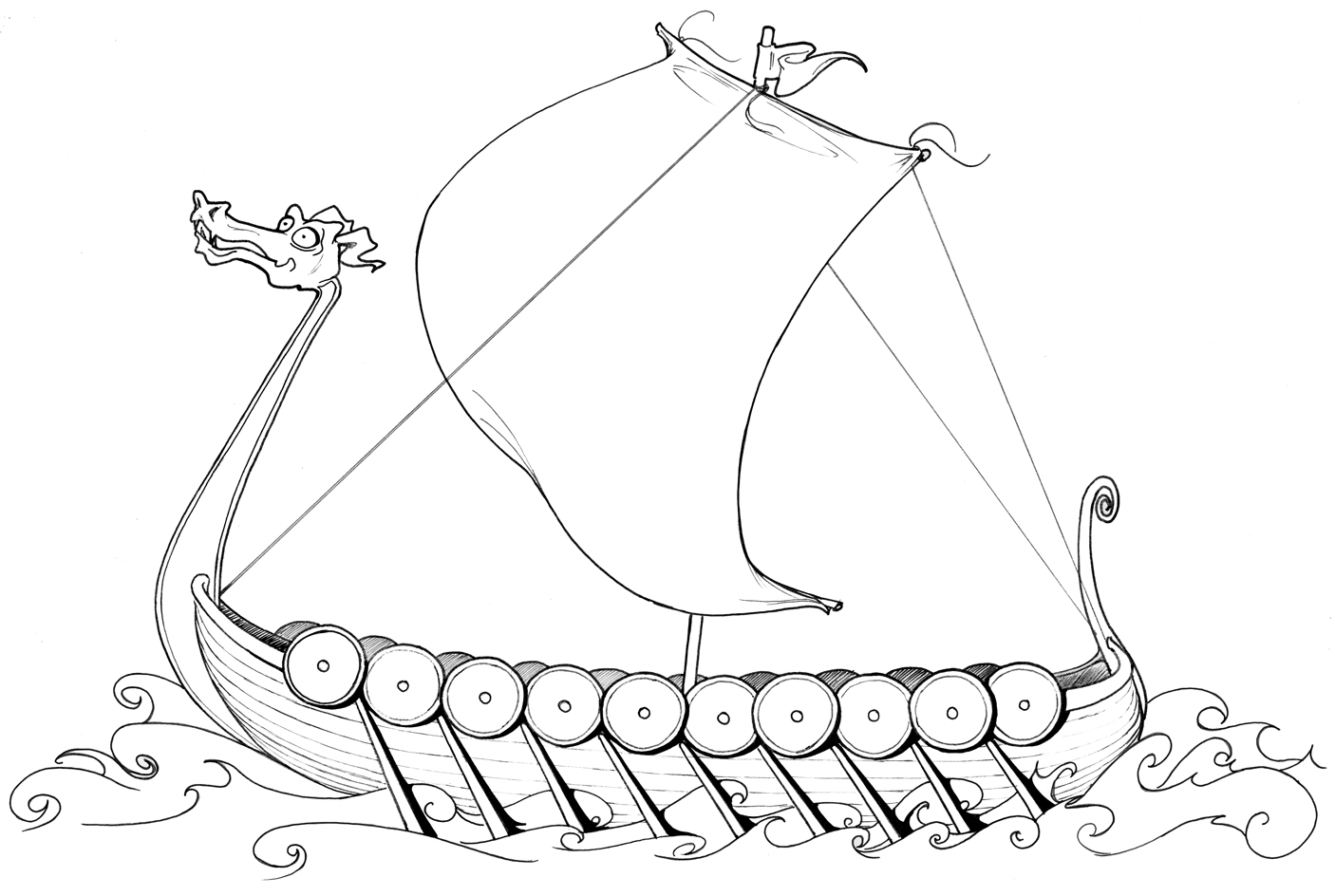 Viking Longboat Drawing At Paintingvalley