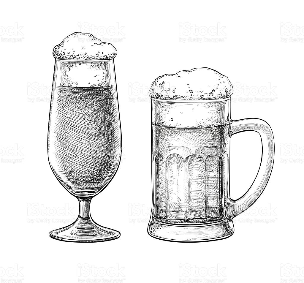 Beer Glass Sketch At Paintingvalley