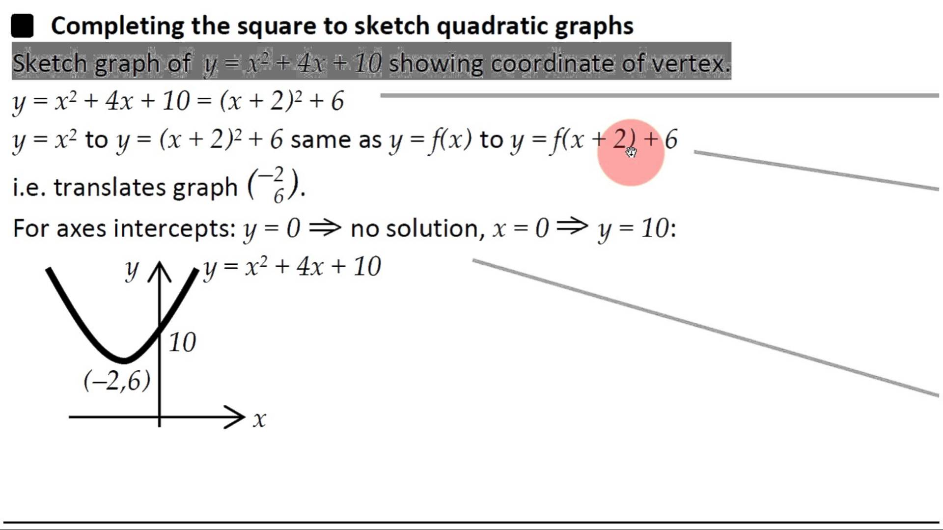 Sketching Quadratic Graphs By Completing The Square Worksheet