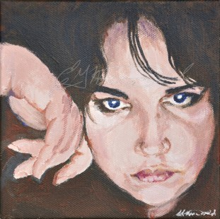 "You Want a Piece of Me? Julia Kay Portrait Party, Studio 6""x6"" acrylic on canvas $125."
