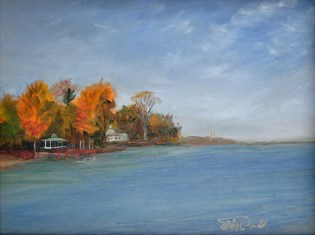 Shores of Tecumseh, Lake St. Clair. 9 x 12 Oil on Panel $350. framed.