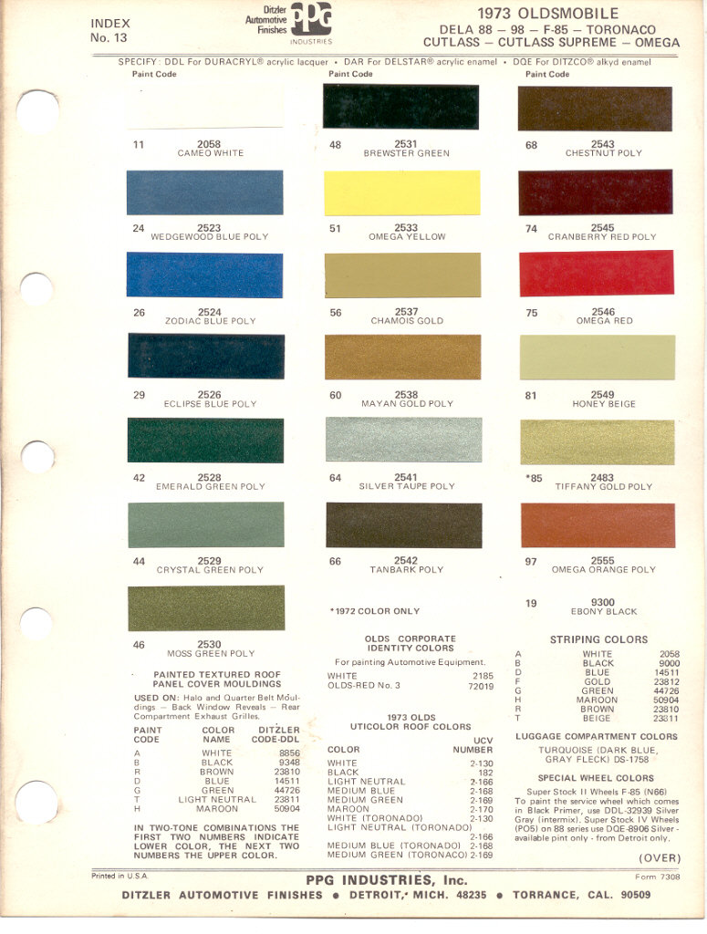 Chevrolet Truck Paint Color Chart 1951 Colors