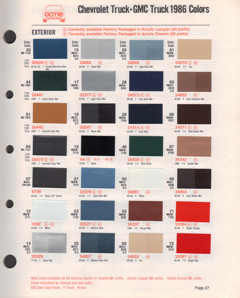 1981 Chevy Truck Color Chart 55