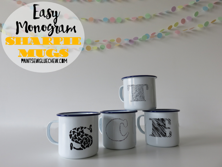 Sharpie Decorated Monogram Personalised Mugs