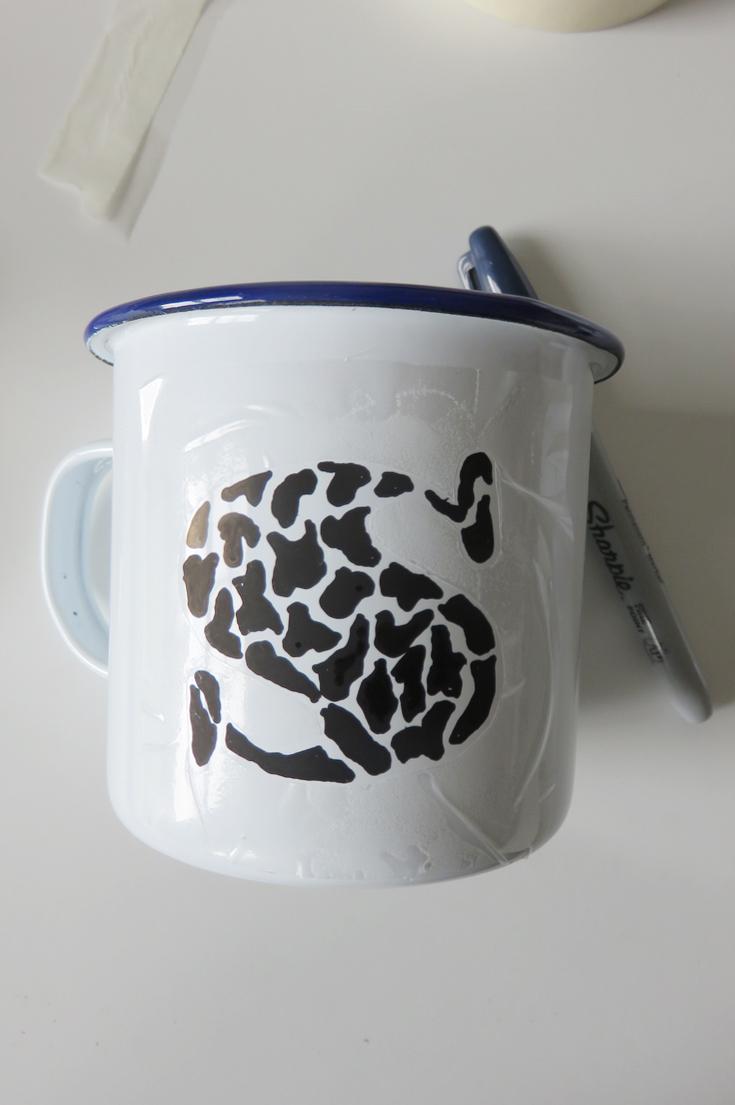 Giraffe Pattern Sharpie Decorated Monogram Mug