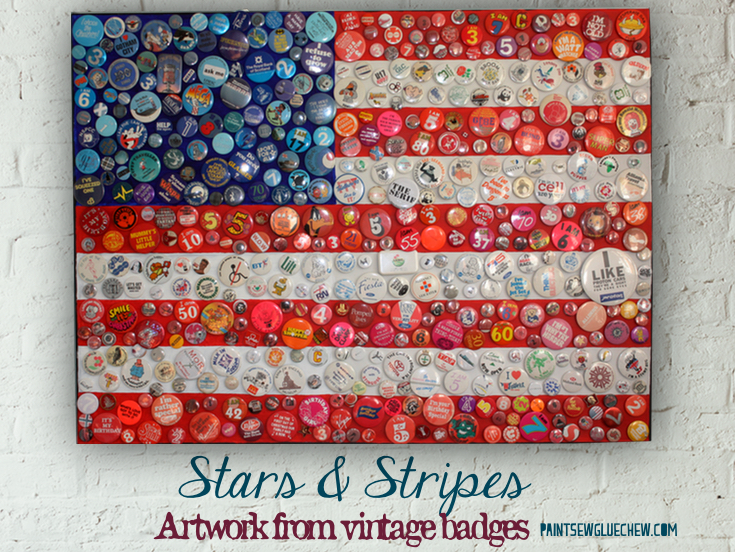 American Flag Wall Art With Vintage Badges