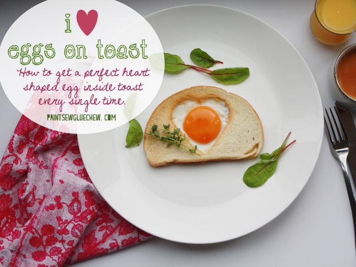 Heart shaped egg on toast