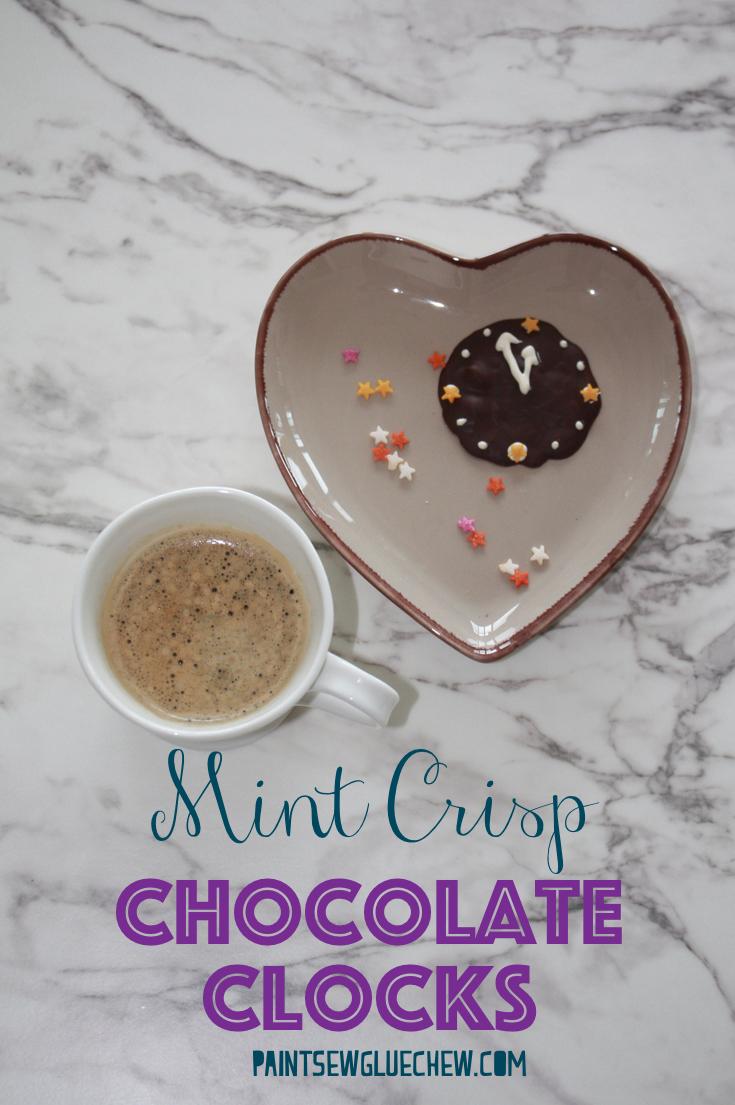 Mint Chocolate Bark into Clock Mint Crisps