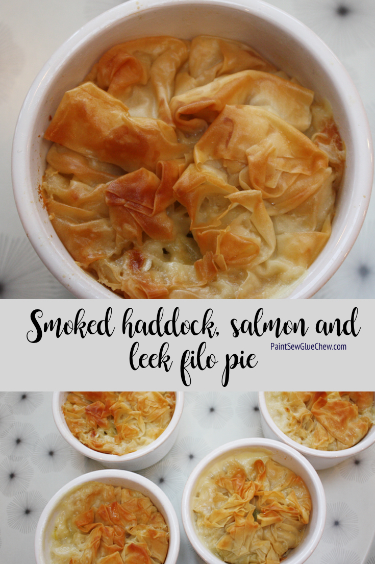Smoked Haddock, Salmon and Leek Pie with Filo