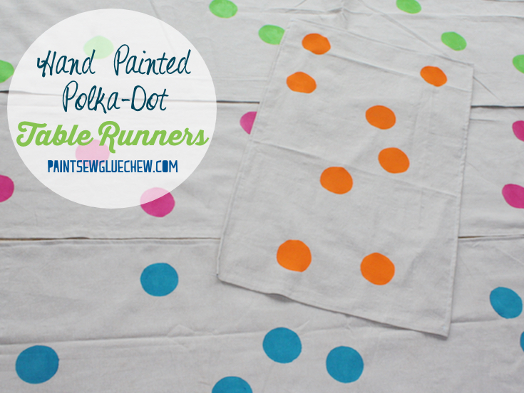 Handpainted Table Runners with Fabric Paint Polka Dots