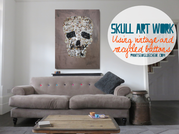 Giant wall art made from recycled buttons in the shape of a skull