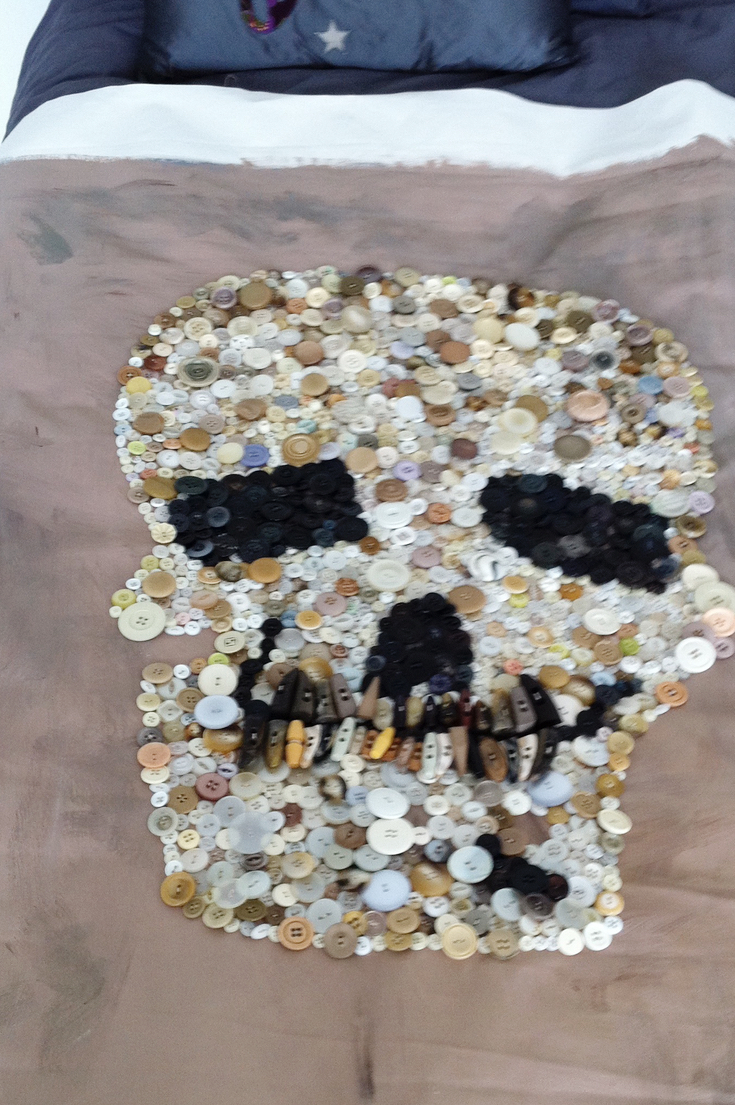 Recycled Art - Skull Made From Buttons