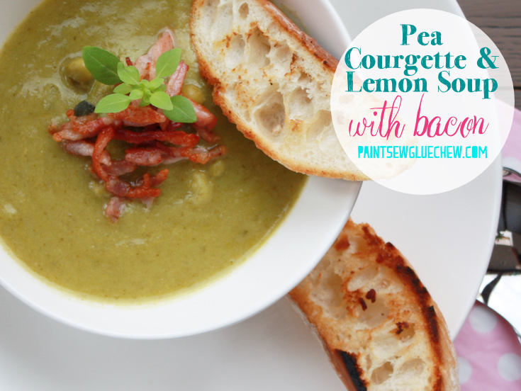 Pea Courgette Lemon Soup With Bacon