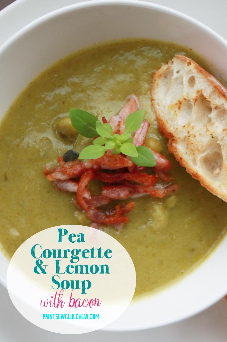 Pea Courgette Lemon Soup With Bacon
