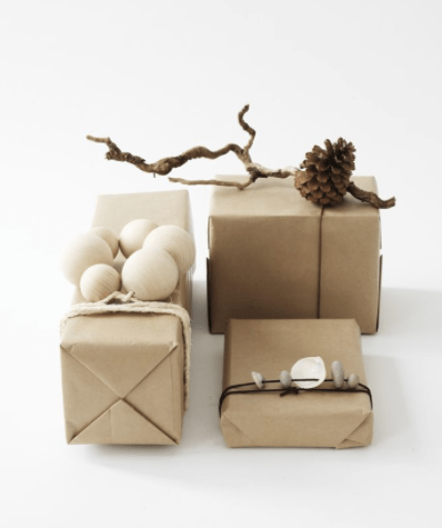 Natural Embelishments gift wrap