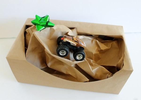 DIY Monster Truck Gift Wrap