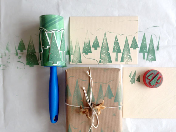 Roller Print Gift Wrap DIY