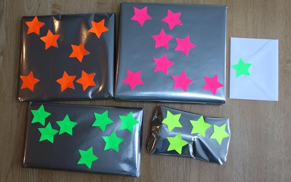 Neon stars gift wrap