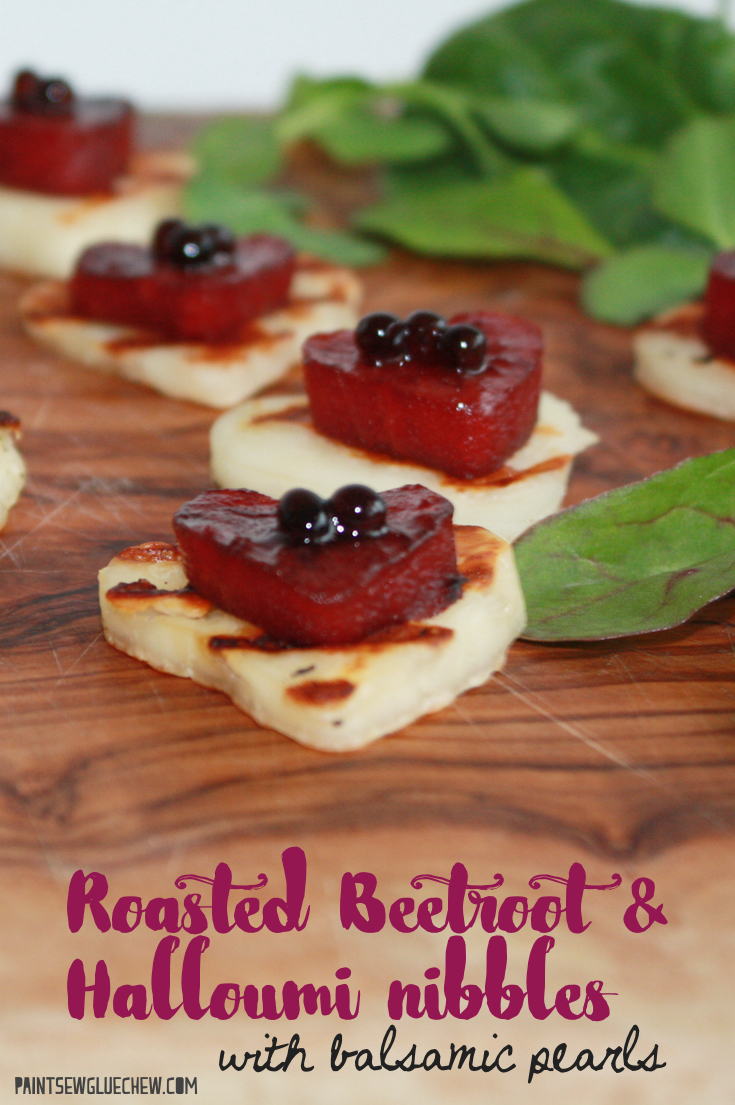 Roasted Beetroot and Halloumi Nibbles with Balsamic Pearls