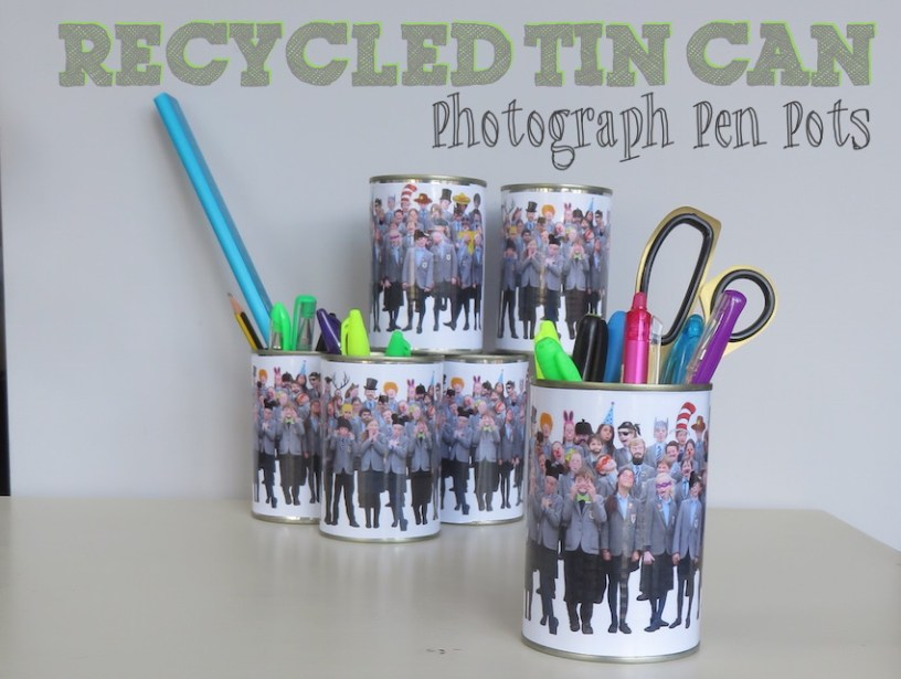 recycled tin can pen pots