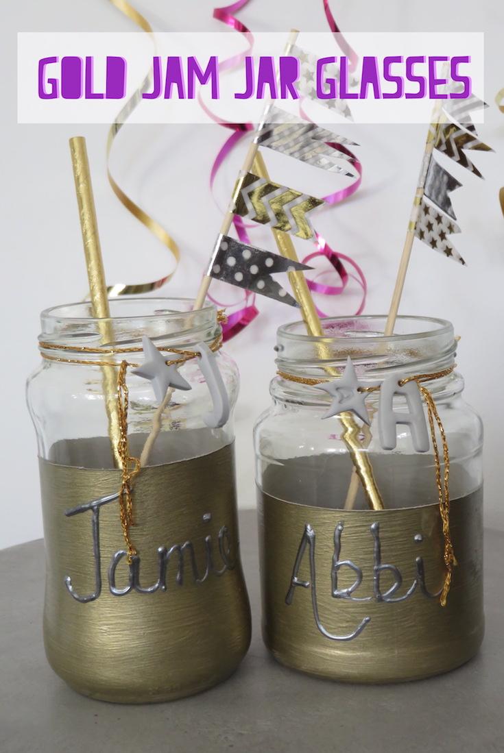 Hand Made Gold Jam Jar Glasses